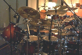Neil Peart in the studio