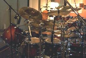 Neil Peart in the studio
