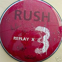 Rush Replay X 3 signed drumhead