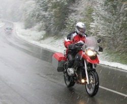 Neil Peart riding in the Bavarian snow