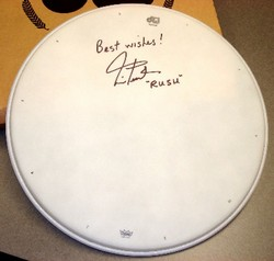 Signed Neil Peart DW drum head for charity auction