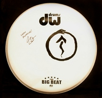 Neil Peart signed drum head