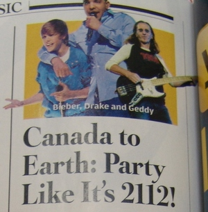 The Canadian trio: Bieber, Drake and Geddy
