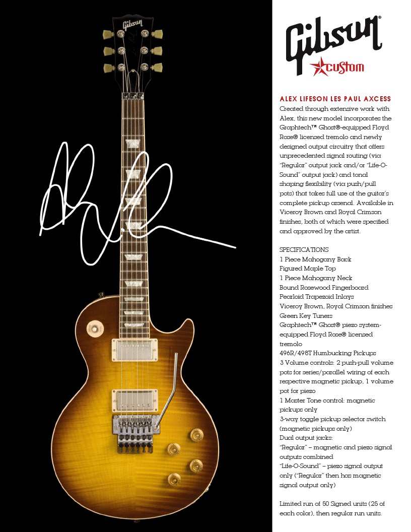 Rush Is A Band Blog Gibson Alex Lifeson Les Paul Axcess Now