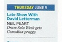 Entertainment Weekly - Neil Peart on Letterman - close-up
