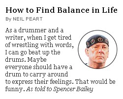 Neil Peart - New York Times One-page Magazine - July 8, 2012