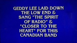 Rush is a Band Blog: Rush and Geddy Lee reference on tonight's episode of Jeopardy!