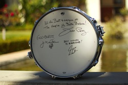 DW Super Solid snare drum signed by Neil Peart