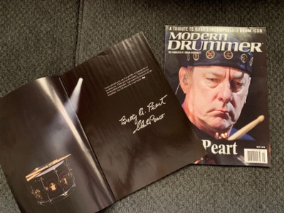 Modern Drummer Neil Peart tribute issue signed by Betty and Glen Peart